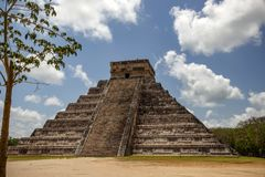 Side view on the steps of the Mayan pyramid. Chichen Itza. stock photos