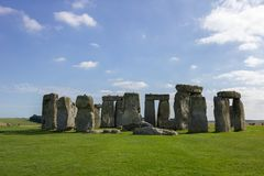 Side view of Stonehenge in England. Perfect day with a view of Stonehenge in united kingdom royalty free stock image