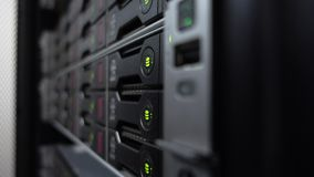Storage racks with many hard drives in room of data center. HDD SATA. Side view. Side view. Storage racks with many hard drives in room of data center. HDD SATA stock footage