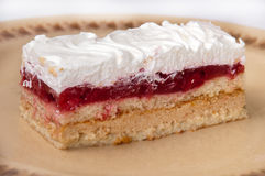 Side view of strawberry cake with white cream Stock Image