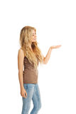 Side view of student woman holding copyspace Royalty Free Stock Photo
