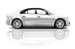 Side View Studio Shot Of White Car.  Royalty Free Stock Images