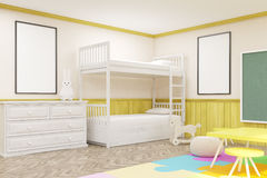 Side view of sunlit children's room with blackboard. Side view of children's room with colored furniture, chalkboard, carpet and large window. Concept of happy Royalty Free Stock Photography