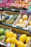 Side view of supermarket shelves Royalty Free Stock Photo
