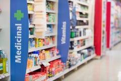 Side view of supermarket shelves Stock Image