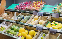 Side view of supermarket shelves Royalty Free Stock Image