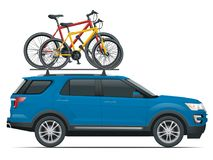 Side view suv car with two bicycles mounted on the roof rack. Flat style illustration isolated on white background. Side view suv car with two bicycles mounted Stock Photos