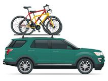 Side view suv car with two bicycles mounted on the roof rack. Flat style vector illustration isolated on white. Background Stock Photo