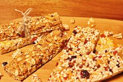 Slices of healthy cereal bars. stock photography