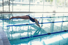 Side view of swimmer diving into pool at leisure center Royalty Free Stock Image