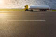 Side view on tank truck in motion blur on motorway