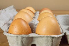 Side view of ten hen eggs in a carton box on a table with copy space. royalty free stock image