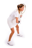 Side view of tennis player Stock Images