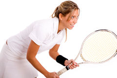 Side view of tennis player going to play Stock Photography