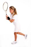 Side view of tennis player holding racket royalty free stock photos