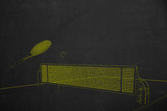 Side view from a tennis scenery drawed with yellow chalk painted Royalty Free Stock Photography