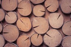 Side view of texture round timber decorate on wooden wall. Stock Photos