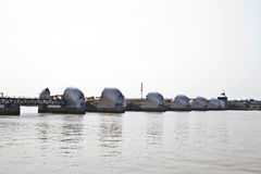 Side view of Thames Barrier at Sunrise Royalty Free Stock Images