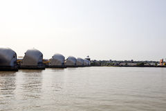 Side view of Thames Barrier at Sunrise Royalty Free Stock Photography