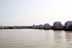 Side view of Thames Barrier at Sunrise Stock Photos