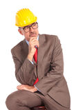 Side view of a thoughtful construction engineer Stock Photos
