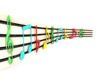 Side view of three dimensional musical notes Stock Photo