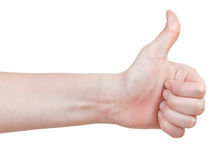 Side view of thumb up - hand gesture Royalty Free Stock Images