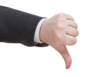 Side view of thumbs down sign - hand gesture Stock Photography