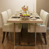 Side view of Top wood Dining Table Royalty Free Stock Photo