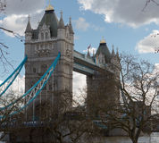 Side View of Tower Bridge Royalty Free Stock Image