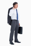 Side view of tradesman with suitcase and jacket Royalty Free Stock Images