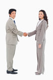 Side view of trading partners shaking hands Stock Image
