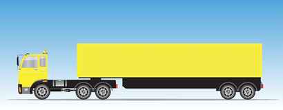 Side view of Trailer Cargo Container Truck Royalty Free Stock Photos