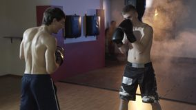 Side view of the training in the boxing hall. A young European athlete fulfills blows in boxing gloves with his coach stock video