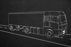 Side view from a truck painted with white chalk on a dark chalkb Royalty Free Stock Photography