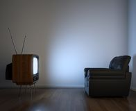 Side view of tv and couch Stock Images