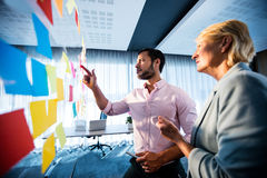 Side view of two business people looking at post it wall. In office royalty free stock image