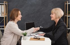 Side view of two business women shaking hands. royalty free stock image