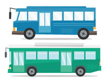 Side view of two city buses vector illustration. Royalty Free Stock Photos