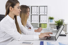 Side view of two female colleagues working Royalty Free Stock Photos