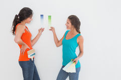 Side view of two female friends choosing color. For painting a room against white background Royalty Free Stock Photos