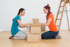 Side view of two friends moving together in a new house Stock Photography