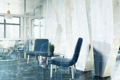 Office waiting area, blue armchairs, side toned Stock Photography