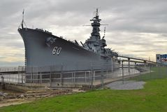 Side View of USS Alabama Stock Photos