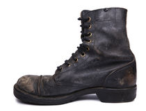 Isolated Used Army Boot - Inner Side View Royalty Free Stock Images
