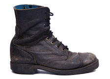 Used Army Boot - Side View. Side view of a very worn right boot, issued by the Israeli army (IDF).  on white background Royalty Free Stock Photos