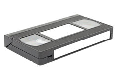 Side view of vhs video tape with labels royalty free stock images