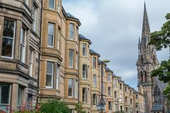 Side view of vintage facades in Edinburgh Stock Photos