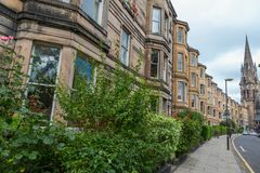 Side view of vintage facades in Edinburgh Royalty Free Stock Image