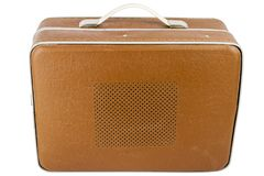 Side view of vintage suitcase turntable Stock Photos